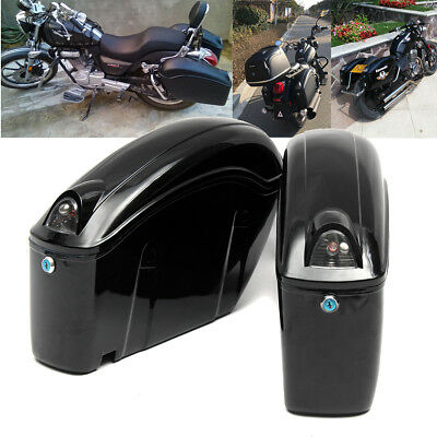 Black Hard Saddle Bags Trunk Luggage Motorcycle Side Cruiser Reflector Lights