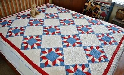 Antique 19th c Hand Stitched Arrowhead Star Quilt Patriotic American Colors