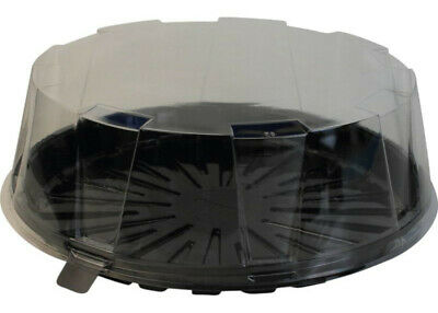 """Black Plastic Cake Boxes With Clear Plastic Lids For Up To 8"""" Diameter Cakes"""