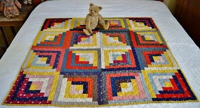 Antique 19th c Hand Stitched Calico Log Cabin Crib Quilt