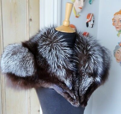 Healthy Size Real Fur Vintage Natural Silver Fox Cape Collar~Excellent Condition