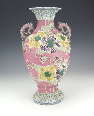 Antique Japanese Satsuma Moriage Pottery - Oriental Flower Decorated Vase