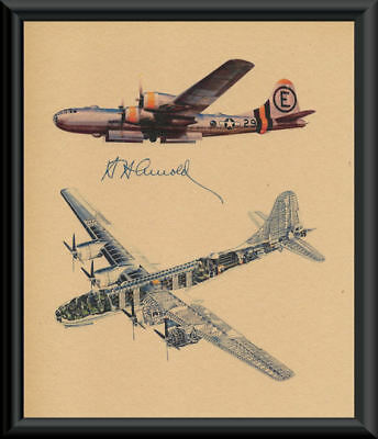 Gen. Hap Arnold Autograph Reprint Diagram of B29 On 70 Year Old Paper P089