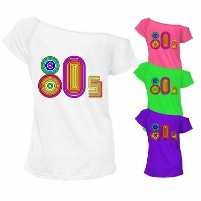 80s Love 1980s T-shirt Top Off Shoulder Ladies Womens Retro Outfit 6905 Lot