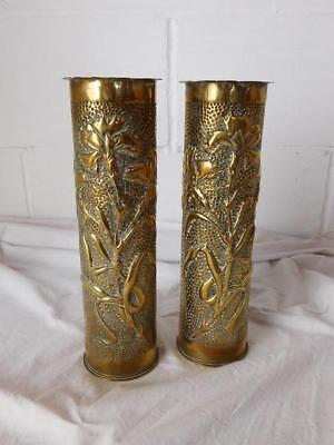 A Good Pair Of Antique Art Vouveau Brass Trench Art Vases
