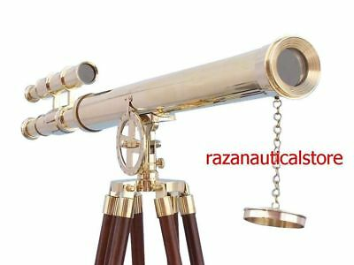 Nautical Brass Harbor Master Double Barrel Telescope With Wooden Tripod Gift