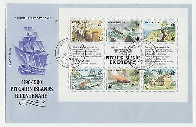 Pitcairn Island, 1990, bicentenary FDC.  Fresh, no faults.