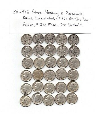 Lot Of 30 90% Mercury/Roosevelt Dimes Mixed Condition  2.169 OZ.Troy Silver*