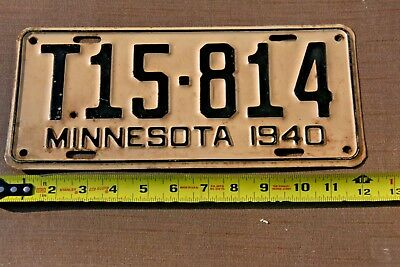 Vintage Minnesota 1940 Truck License Plate, Hard To Find, In Very Good Condition