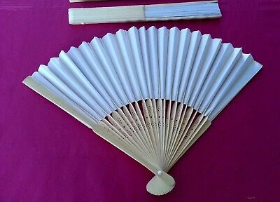 ( lot ) 3 wooden folding hand held fan manipulation from hard white paper +gifts