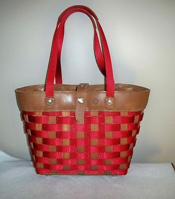 Longaberger To Go Small Shopping Tote Rich Brown Leather With Red Weave Retired