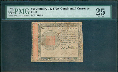Continental Currency, January 1779, $60 - PMG VF 25