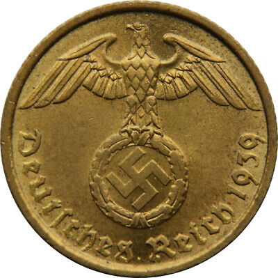 WW2 Nazi German Brass 5 Pfg Coin-VG+ Condition Own a piece of History