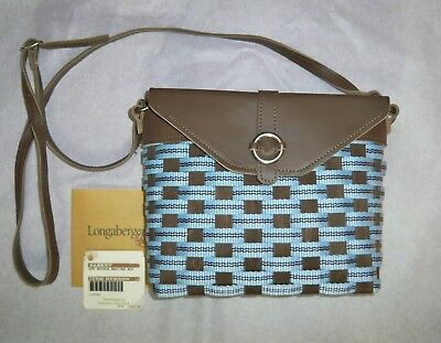 Longaberger To Go Small Buckle Bag - Leather With Cabana Blue Stripe Weave - NIB