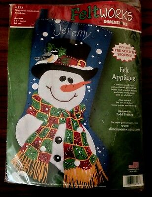 """Felt Works by Dimensions Holiday Stocking Kit - 8113 Sequined Snowman 18"""" New"""