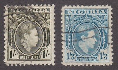 Nigeria,1938, 1/- green, 1/3 blue, SG56-57, Sc 61-62, used.