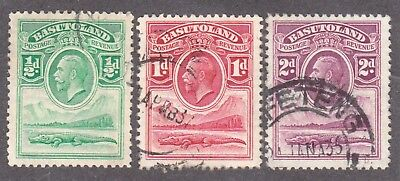 Basutoland,1933, selection, SG1-3, Sc 1-3, used.