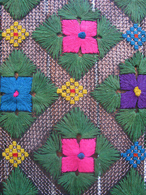 Vtg Mexican Open Weave Crochet Floral  Fringed  Blanket Hand Made Wool  73 x 55