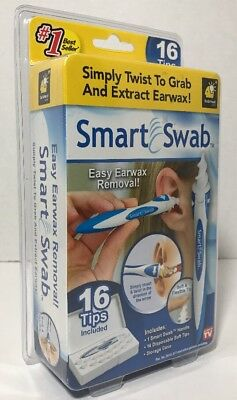 Smart Swab Earwax Removal, 16 Disposable Tips, Storage Case, As Seen On TV - New
