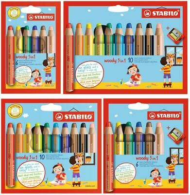 STABILO WOODY 3 IN 1 Multitalentstift, 6er 10er 18er SET Wachsmalstift Farbstift