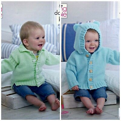 Baby KNITTING PATTERN Baby's Easy Knit Hooded or Collar Jackets DK KingCole 5256