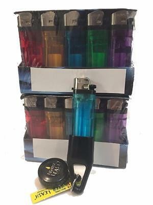 100 Cigarette Disposable Lighters w/ 1 Lighter Leash Included Tray, FAST SHIPPIN