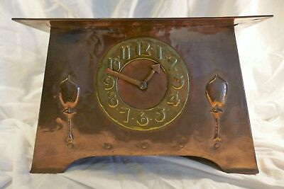 English Arts and Crafts / Art Nouveau copper & brass mantle clock