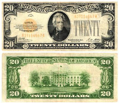 1928 $20 Bill Sm Size Currency United States GOLD CERTIFICATE Fr#2402 Circulated