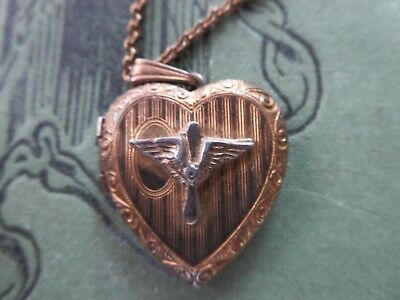 """WW2 Air Force 14K Over Sterling Silver Sweetheart Locket Necklace 18"""""""