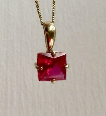 9 CT gold natural Ruby necklace