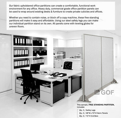"GOF 48""H, 60""H, 72""H Freestanding Office Partition, Room Divider, Cubicle, Panel"