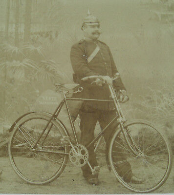 AK Photo Windhuk 1903 BRENNABOR Fahrrad antique bicycle velo ancien Schutztruppe