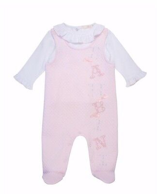 Stunning Mintini Baby Girls Spanish Style Quilted Soft Dungarees & Top Outfit