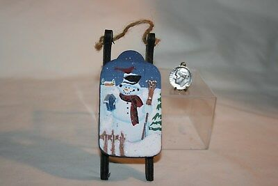 Miniature Dollhouse Hand Painted Wood Christmas Sled w Snowman & Bird 1:12 NR
