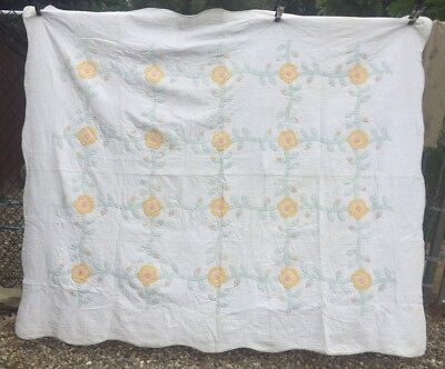 Antique Vintage 1920s Quilt ~ Floral Applique Dated 1927 Hand Qlt