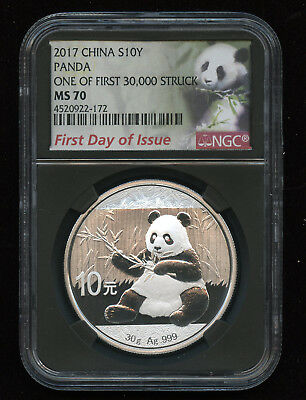 NGC MS70 1ST DAY OF ISSUE 2017 China 30 g. .999 10 Yen Silver Panda PERFECT COIN