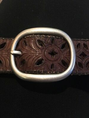Fossil Brown Leather Cut Out Belt Womens Soze Large Silver Buckle
