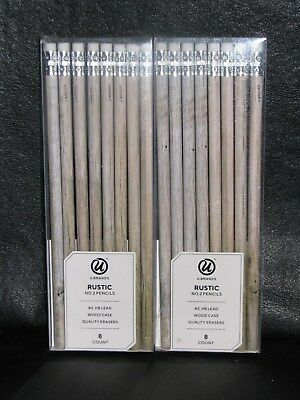 3 U BRANDS 8 count No 2 Pencils Wood Case Quality Erasers RUSTIC Brown Tree = 24