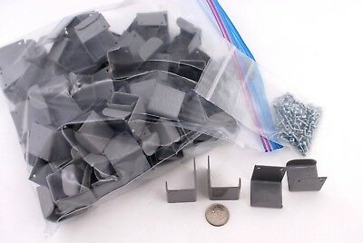 97 GRAY PAINTED METAL HOOKS / HANGER BRACKETS with SCREWS - NEW