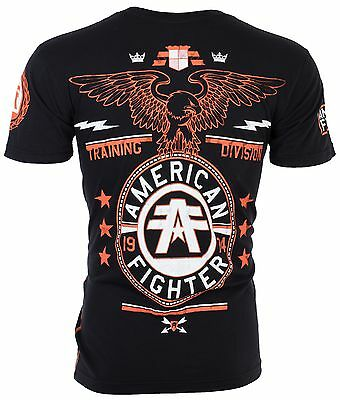 AMERICAN FIGHTER Men T-Shirt CREST OF TRUTH Athletic BLACK Biker Gym MMA UFC $40