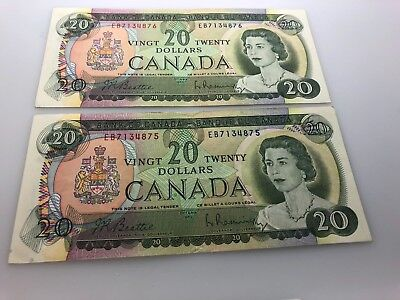 1969-Canadian $20 Bill-2 Qty-consecutive serial numbers