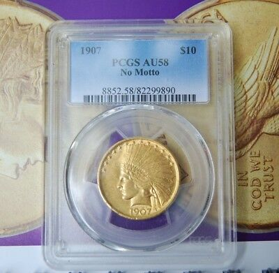 1907 PCGS AU58 $10 GOLD INDIAN EAGLE NO MOTTO Nice Clean Piece