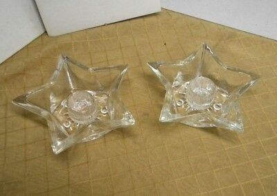 2 Vintage Glass Five Point Star Shaped Starburst Design Tapered Candle Holders