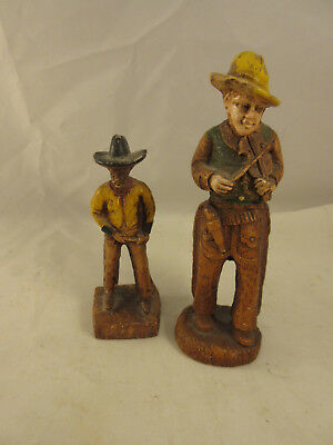 Pair of Vintage 1940's Pair of Cowboy, Gringo Syroco, Syrocco Wood Figures