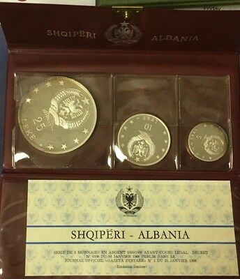 1968 Albania Proof Silver Set-3 Coins ***free*** S/h
