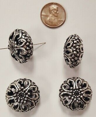 6 VINTAGE ANTIQUE SILVER PLATE FLORAL FILIGREE 13x23mm SQUASHED ROUND BEADS N205