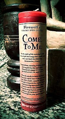 Come To Me Spell Pillar Candle - Handmade & Organic (Wicca, Witchcraft, Hoodoo)