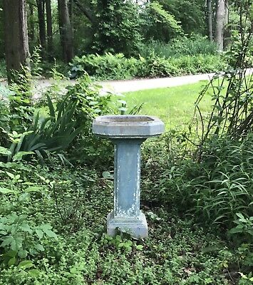 "Vtg 33""Tall-Large-English-Old Blue Pedestal Bird Bath-Garden Concrete/Cement"