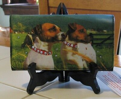 Ladies Jack Russell Terriers Rhinestone Clutch Wallet- New W/tags - Great Gift!