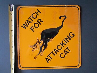 NEW Sealed Attack Cat Yield Sign ALUMINUM